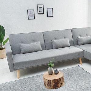 Modernes Ecksofa NORDIC 265cm hellgrau Scandinavian Design Schlafsofa