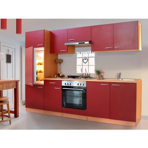Respekta Küchenzeile ohne E-Geräte LBKB270BR 270 cm Rot-Buche Nachbildung