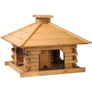 Rustikales XL-Vogelfutterhaus im Blockhaus-Stil mit dekorativem Holzdach