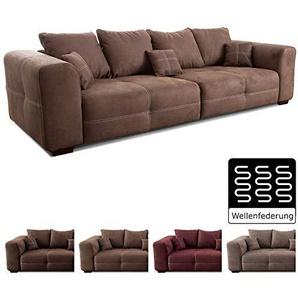 Cavadore Big Sofa Mavericco / Große Couch im modernen Design  in Lederoptik / Inklusive Rückenkissen und Zierkissen / 287 x 69 x 108 cm (BxHxT) / Mikrofaser Braun