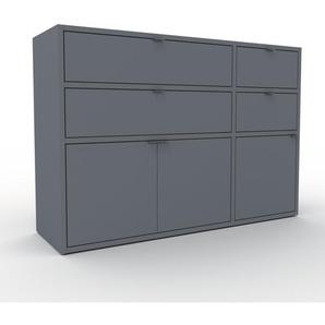 Kommode Anthrazit - Lowboard: Schubladen in Anthrazit & Türen in Anthrazit - Hochwertige Materialien - 116 x 80 x 35 cm, konfigurierbar