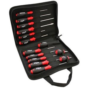 WIHA Schraubendreher-Set SoftFinish® Griffdesign 14-teilig mit Werkzeugtasche