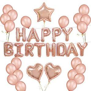 FUJIE Geburtstag Deko Happy Birthday Ballons Banner Luftballons Geburtstag Buchstaben Folienballon Latex Ballons Herz Folienballons und Stern Folienballons, für Party Dekoration