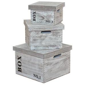 3-tlg. Box-Set aus Holz