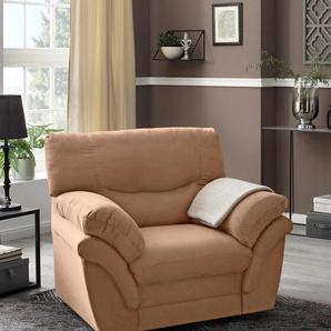 Benformato Home Collection Sessel, braun, B: 106cm, hoher Sitzkomfort