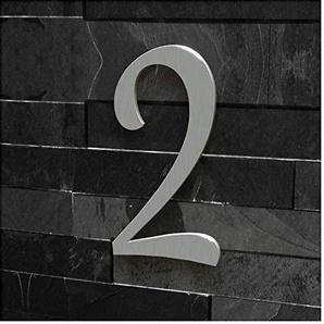 Colours-Manufaktur Hausnummer Nr. 2 - Schriftart: Klassisch - Höhe: 20-30 cm - viele Farben wählbar (Edelstahl (gebürstet), 30 cm)