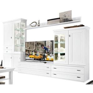 Wohnwand 334 x 222 x 51 cm Holznachbildung in Weiß lackiert