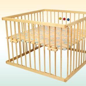 Kidsmax Laufgitter Laufstall David 100x100 Kiefer klar lackiert inkl. Spielkugeln, Polsterboden, Schlupfsprossen, Höhenverstellung und Rollen