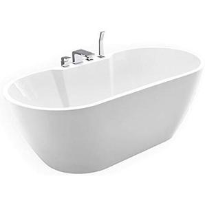 Freistehende Badewanne JAZZ PLUS Acryl weiß - 170 x 80 cm, Vormontage:Mit Vormontage (5 Werktage), Wannenarmatur:Mit Wannenarmatur 6080
