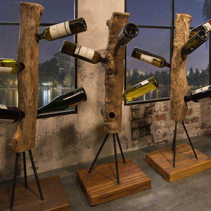 Massives Weinregal HEMINGWAY 103cm Teakholz Flaschenregal für 6 Flaschen