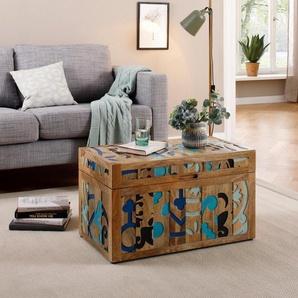 Home affaire Truhentisch »Layer«, aus massivem Mangoholz, mit detailreichen Ornamentenmuster auf dem Korpus, Breite 70 cm, orange