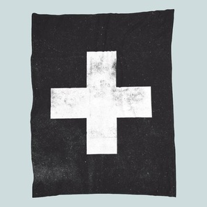 Swiss Cross Black-Fleecedecke
