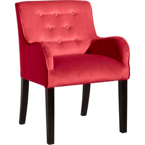 Max Winzer® Esszimmersessel »Debby«, mit dekorativen Knöpfen, rot, Samtvelours 20442