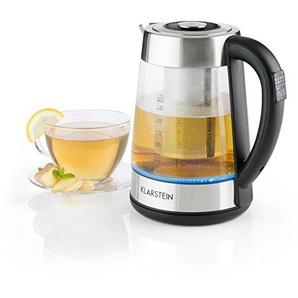 Klarstein Ostfriese • Wasserkocher • Teekocher • herausnehmbares Teesieb • 1,7 Liter • 2200 W • 4 einstellbare Temperaturstufen • Cool-Touch • Edelstahl & Glas