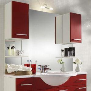 Waschplatz komplett Set in weiß und rot mit Waschbecken und Beleuchtung 110 cm Adola
