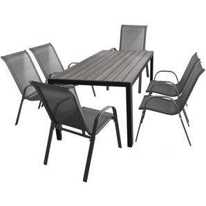 7tlg. Gartengarnitur Polywood Tisch 150x90cm Schwarz/Grau + 6 Stapelstühle mit Textilenbespannung Anthrazit Gartenmöbel Terrassenmöbel Set Sitzgruppe - WOHAGA®