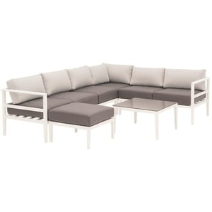 OUTLIV. Wales Loungeecke 6-teilig Aluminium/Polyester Weiß/Anthrazit/Silber