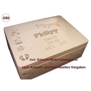 MidaCreativ zur Geburt, Holz-Geschenkbox Gr. 2 Kiefer incl. Auswahl-Lasergravur (GB6)