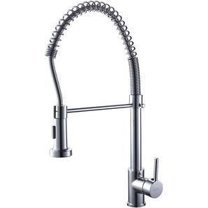 Auralum 360° Drehbar Wasserhahn Einhandmischer Spiralfederarmatur Spültischarmatur Küchenspüle mit Geschirrbrause Chrom