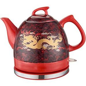 YSkettle Wasserkocher Rot glasiert Golddrachen Abnehmbare Basis Kochen trocken Schutz 1.2L rot