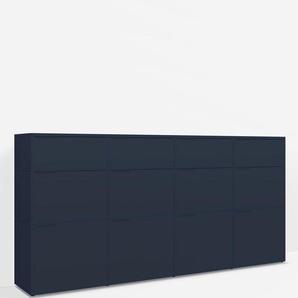 Konfigurierbare Kommode mit Schubladen. Aus Spanplatte in Blau.