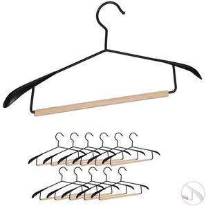 Kleiderbügel, 12er Set, breite Schultern, Sakkos & Anzüge, Hosenstange, Jackenbügel, Metall & Holz, schwarz - RELAXDAYS