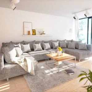 Wohnlandschaft Clovis XL Hellgrau Strukturstoff Modulsofa, Design Wohnlandschaften, Couch Loft, Modulsofa, modular