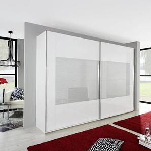 INOSIGN Schwebetürenschrank mit gemusterter Glasfront, weiß, Breite 315 cm