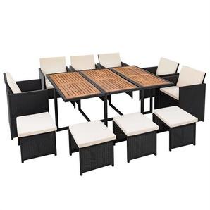 Polyrattan Set Rattan Sitzgruppe Gartenmöbel Rattanmöbel schwarz 10 Personen - ESTEXO