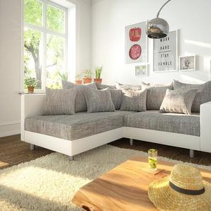 Ecksofa Clovis Weiss Hellgrau Modulsofa Armlehne Ottomane Links, Design Ecksofas, Couch Loft, Modulsofa, modular