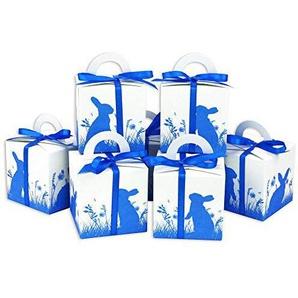 Papierdrachen DIY Osterhasen Kisten - Blauer Aufdruck - weiße Geschenkboxen zu Ostern - Geschenkverpackung zum Befüllen - für Kinder und Erwachsene