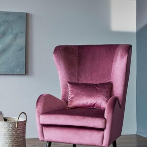 Guido Maria Kretschmer Home&Living Sessel »Salla«, wahlweise mit oder ohne Hocker; großer Sessel: Maße B/T/H: 78/94/118 cm, lila, Samtvelours