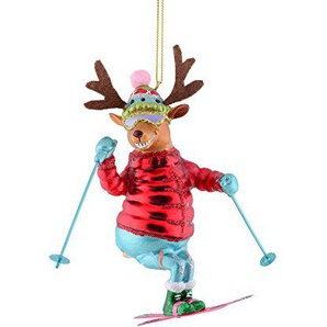 Gift Company - Hänger - Christbaumschmuck, Baumschmuck - Skifahrer Rentier - rot - Glas - 8,5x13x14 cm