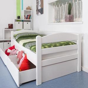 Einzelbett / Funktionsbett Easy Premium Line K1/n/s inkl 2 Schubladen und 2 Abdeckblenden, 90 x 200 cm Buche Vollholz massiv weiß lackiert