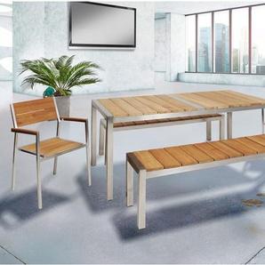 greemotion Gartenmöbel Set »San Diego 3«, 5-teilig, aus Teakholz und Edelstahl