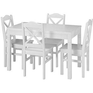 Erst-Holz® Schöne Essgruppe mit Tisch und 4 Stühle Kiefer Massivholz waschweiß 90.70-51 B W-Set 20