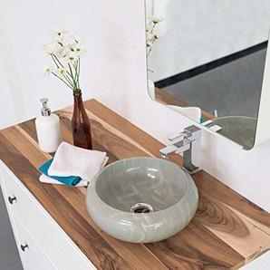 wohnfreuden Sandstein Aufsatz-Waschbecken 30x12 cm Asbak Mini poliert ? grau rund Bad Gäste WC ? Handwaschbecken Waschschale Aufsatzwaschbecken für Bad Gäste WC
