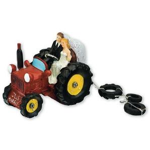 Club Green rot Kunstharz Braut und Bräutigam auf Traktor, rot, 320x 90x 110mm