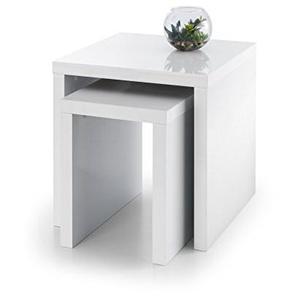 Julian Bowen Metro Nest von Tabellen, Holz, Hochglanz, weiß