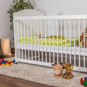 Babybett Gitterbett Schlafgut Buche Massiv weiß lackiert - 70 x 140 cm