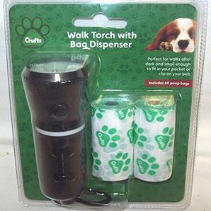 Crufts PMS Hundehütte Walk LED Taschenlampe mit Doggy Bag Halter + Ersatzteile