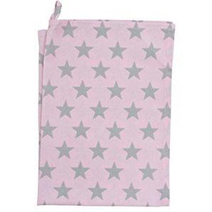 Krasilnikoff - Geschirrtuch, Küchentuch, Trockentuch - Pink/Grey Stars/Pink mit grauen Sternen - 50 x 70 cm - 100% Baumwolle