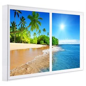 Einsame ccretroiluminados Strand Fenster falsche Wandbilder beleuchtet, Holz, mehrfarbig, 80x 60x 6.5cm