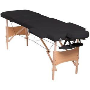dibea mobile 3-Zonen Massagebank mit Holzgestell, 210 x 75 cm, höhenverstellbar und klappbar, schwarz