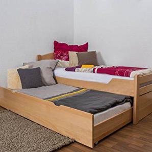 Einzelbett/FunktionsbettEasy Premium Line K1/h Voll inkl. 2. Liegeplatz und 2 Abdeckblenden, 90 x 200 cm Buche Vollholz massiv Natur