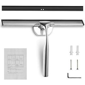 STYDDI Edelstahl Duschabzieher mit Silikon-Wischlippe Wandaufhänger Fensterabzieher Badabzieher für Badezimmer Spiegel Fenster Glasreinigung 1 Ersatzlippe