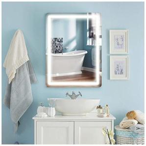 COSTWAY Schminkspiegel mit LED-Beleuchtung, beleuchteter Badezimmerspiegel,vertikale Wandmontage, LED-Streifen 80 x 60cm