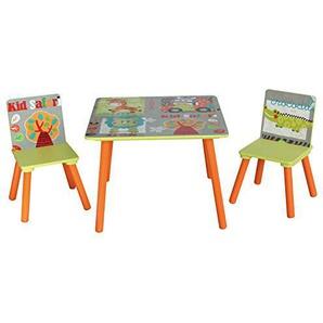 LibertyHouseToys TF4808 Kid Safari Tisch und 2 Stuhl, Holz, grün, 60 x 60 x 44 cm