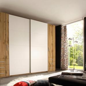 Dreh-/Schwebetürenschrank mit Schubkästen, weiß, Breite 312 cm, 4-türig, mit Schubkästen,