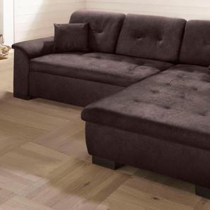 Home Affaire Ecksofa »Bergen« ohne Schlaffunktion, braun, H: 41cm, hoher Sitzkomfort
